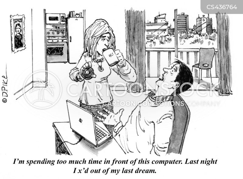computer addiction cartoon