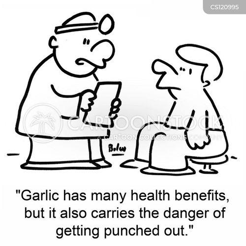 eating garlic cartoon