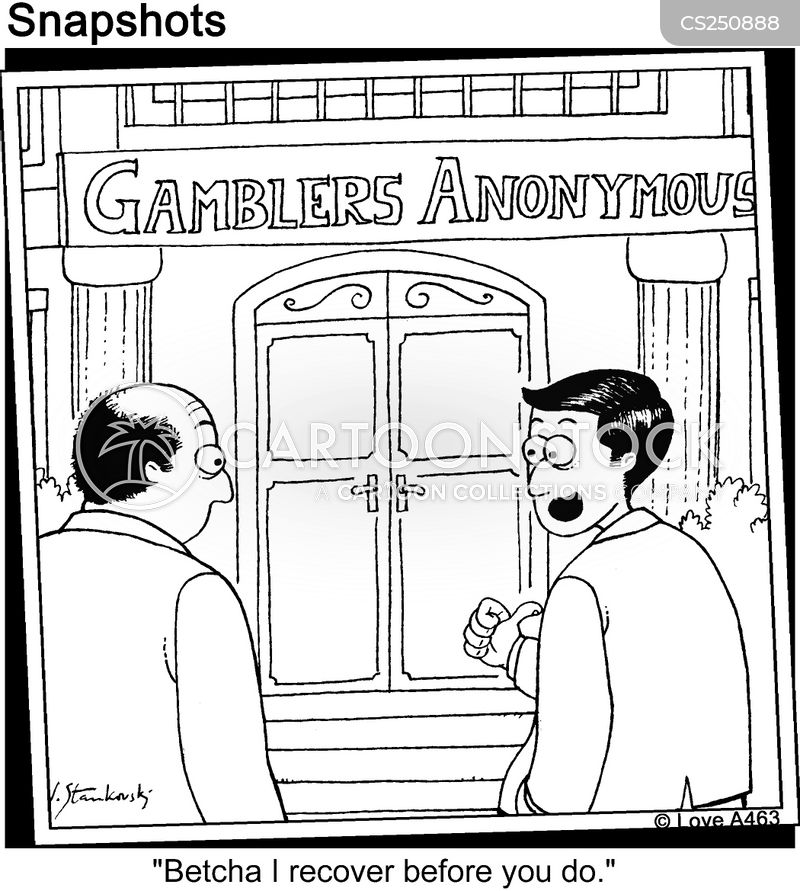 gambling addicts cartoon