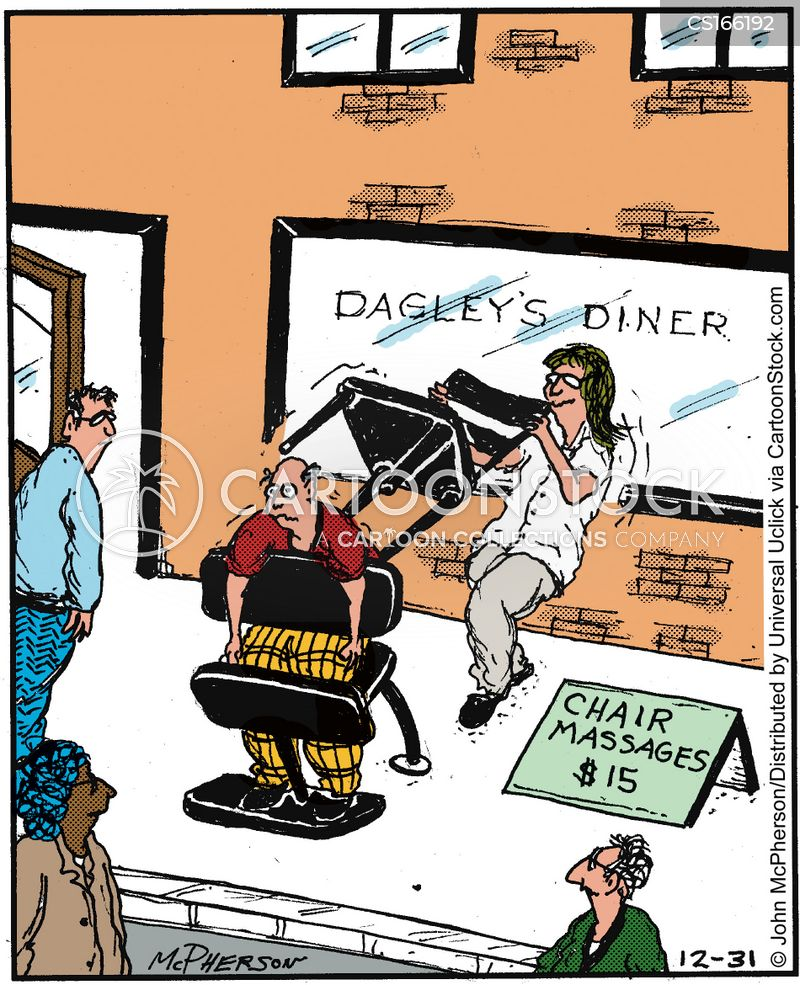 chair massage cartoon
