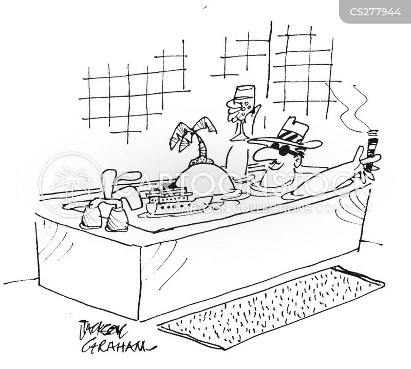 having a bath cartoon