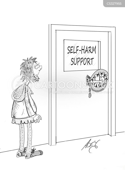 self-harm cartoon