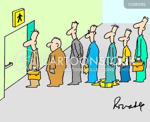 queueing cartoon
