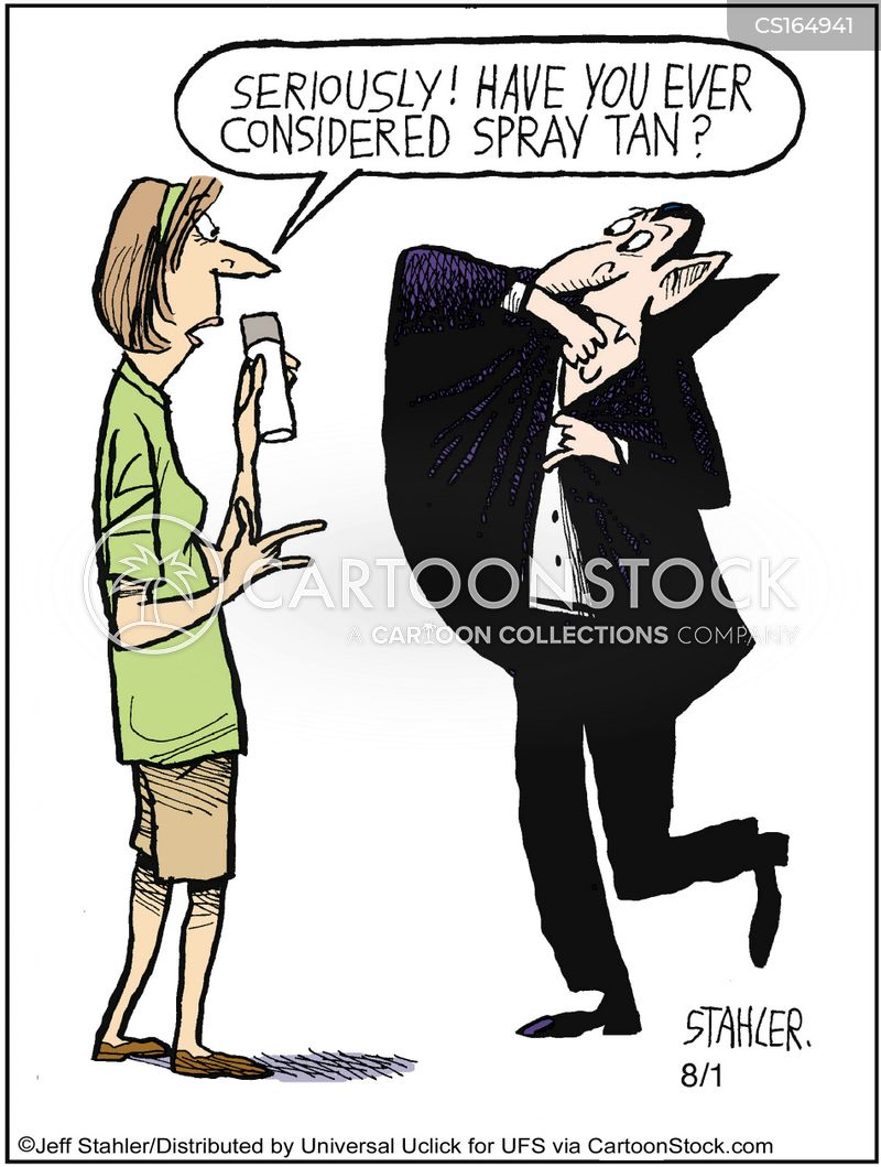spray tanning cartoon