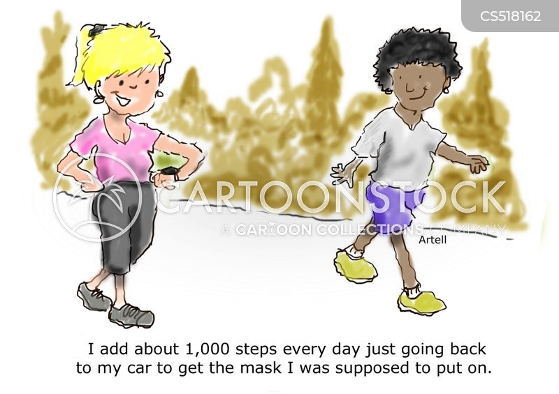 step counting cartoon