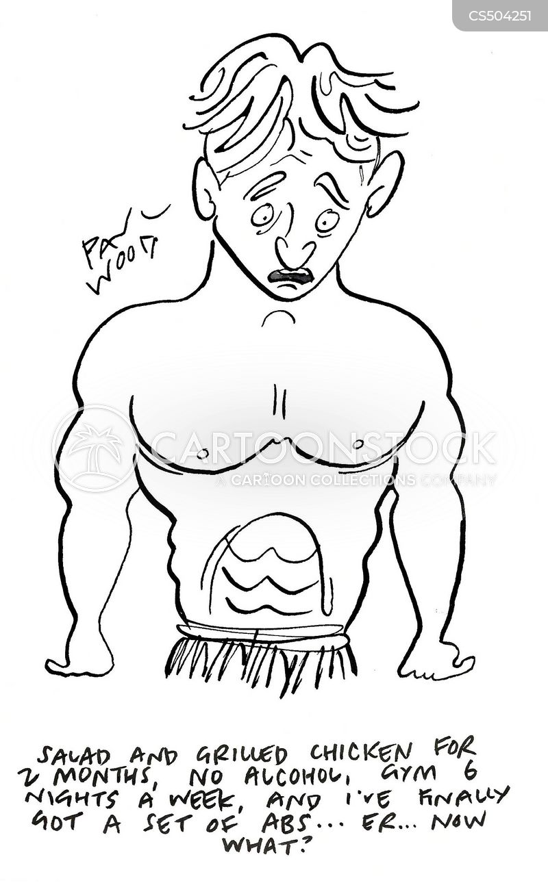 stomach muscle cartoon