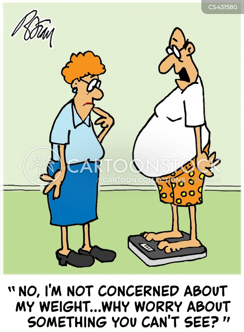 Image result for cartoon fat person can't see scales