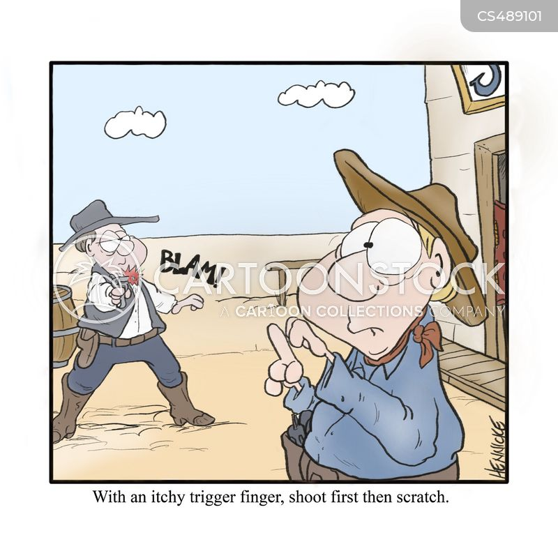 itchy trigger finger cartoon