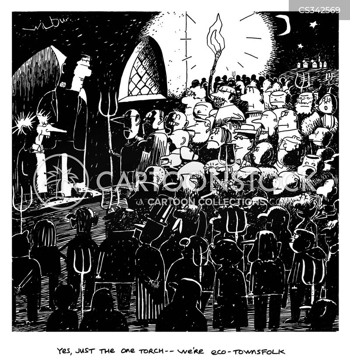burning torches cartoon