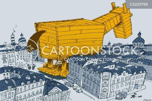 wooden horses cartoon