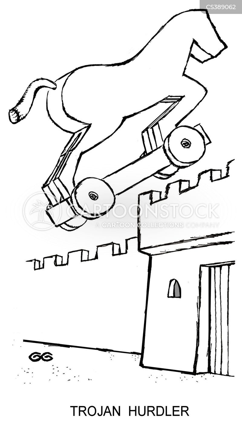wooden horse of troy cartoon
