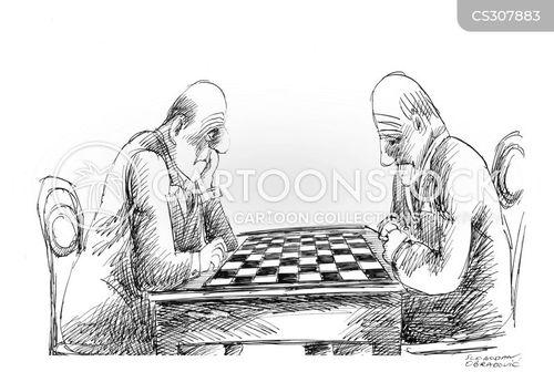 playing chess cartoon