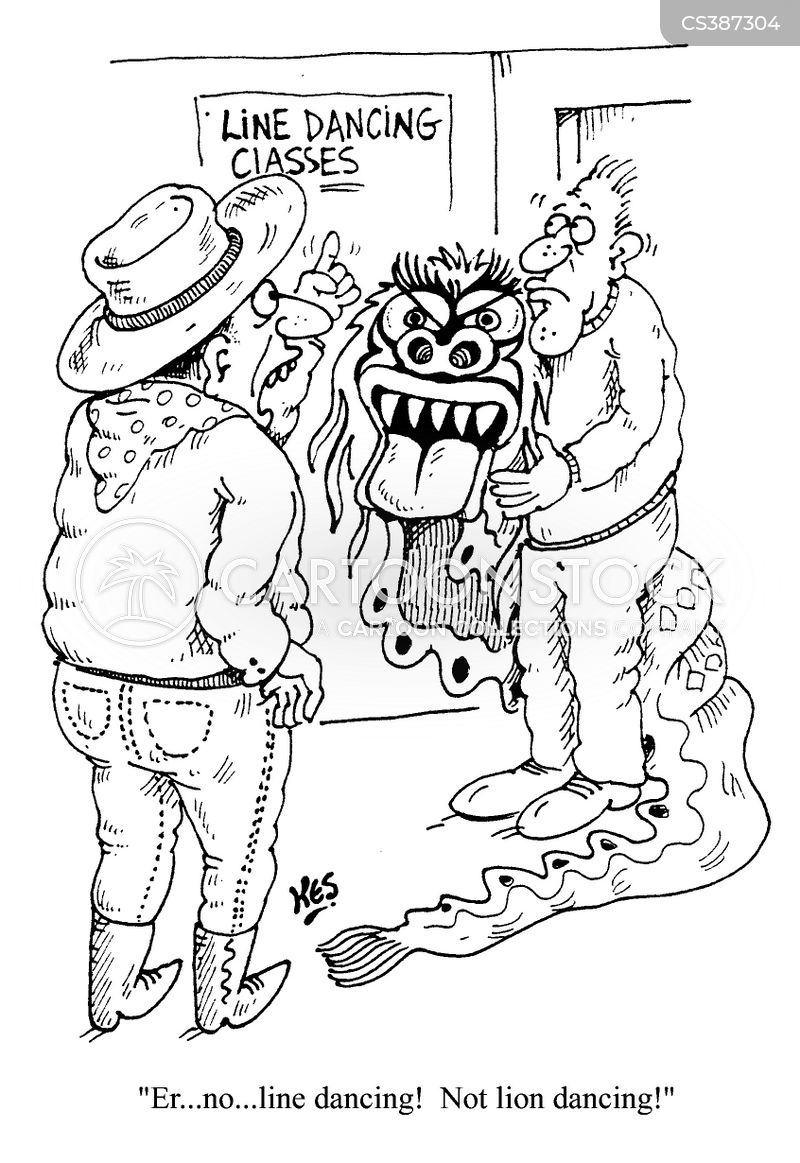 lion dancers cartoon