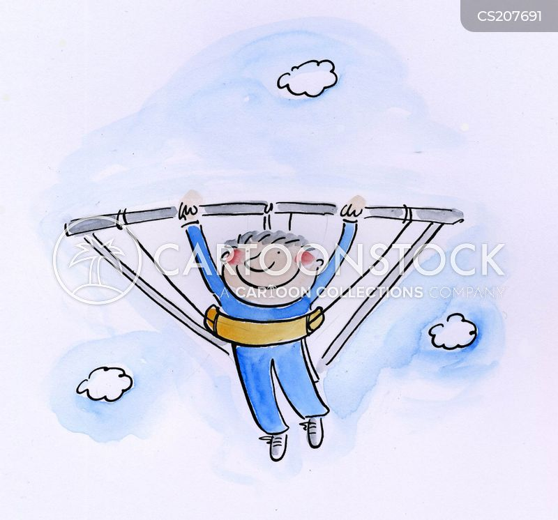 hang-gliding cartoon