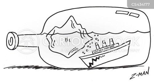 ship in a bottle cartoon