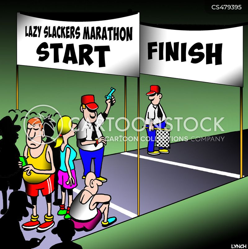 foot race cartoon