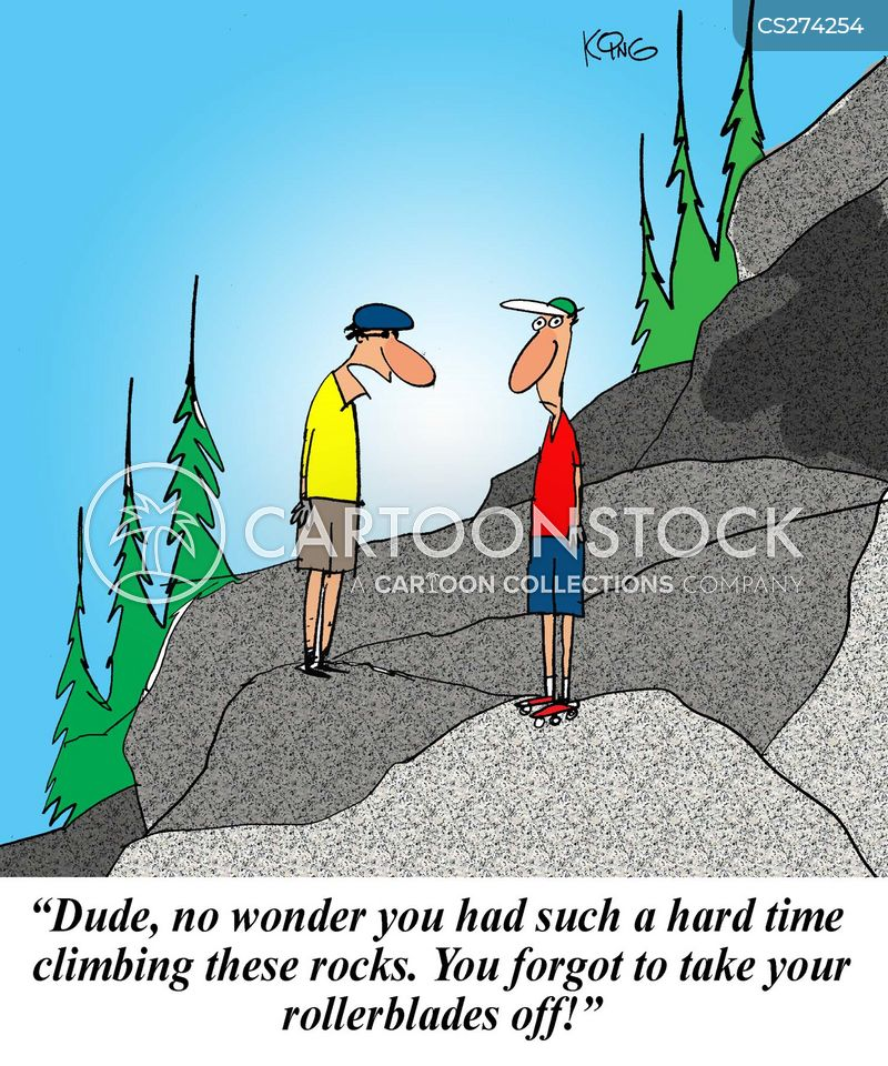 climbing mountains cartoon