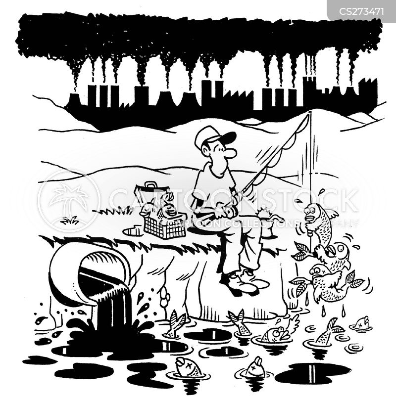 polluted ponds cartoon