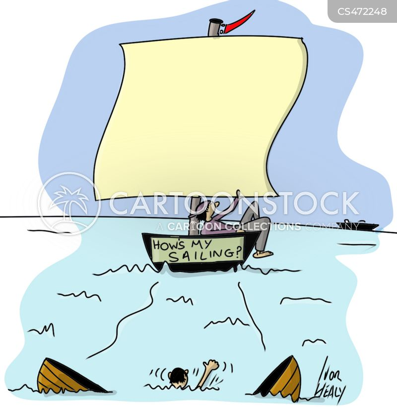 capsized boat cartoon