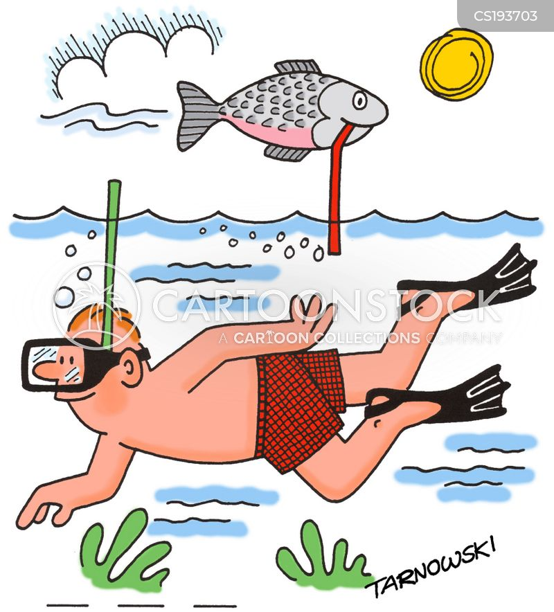 snorkeling cartoon