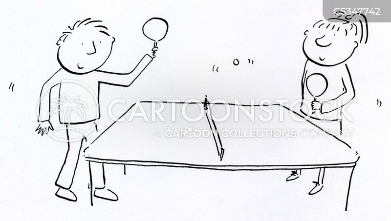 playing ping pong cartoon