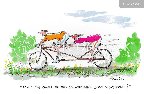 tandem bikes cartoon