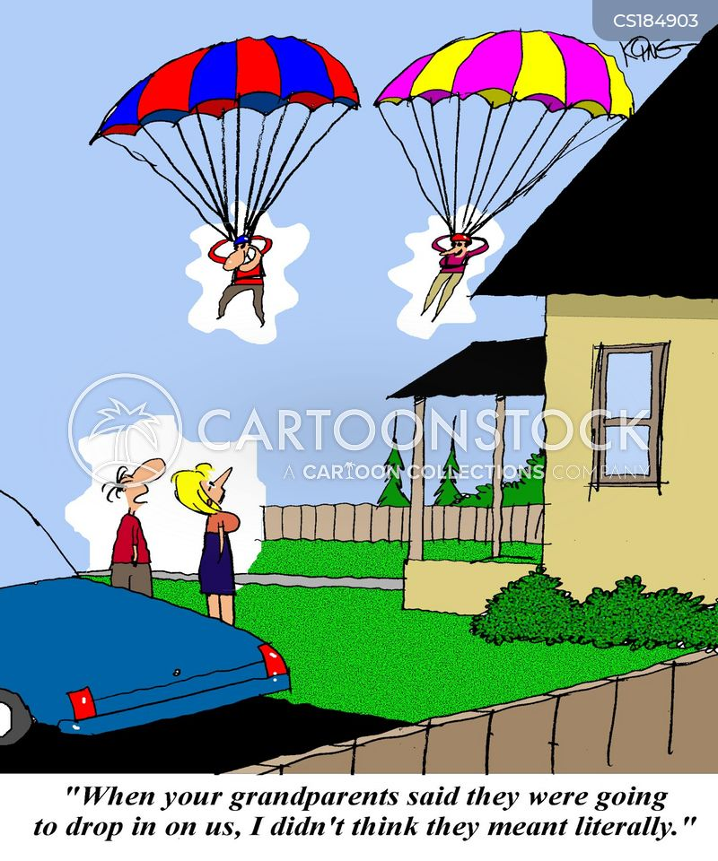 parachute jump cartoon