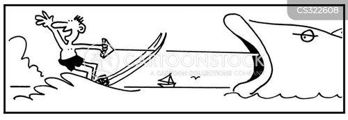 water skiers cartoon