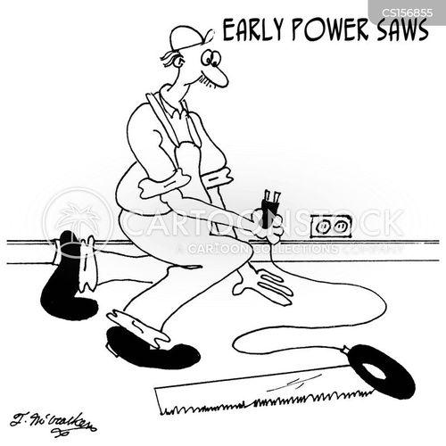 electric saw cartoon