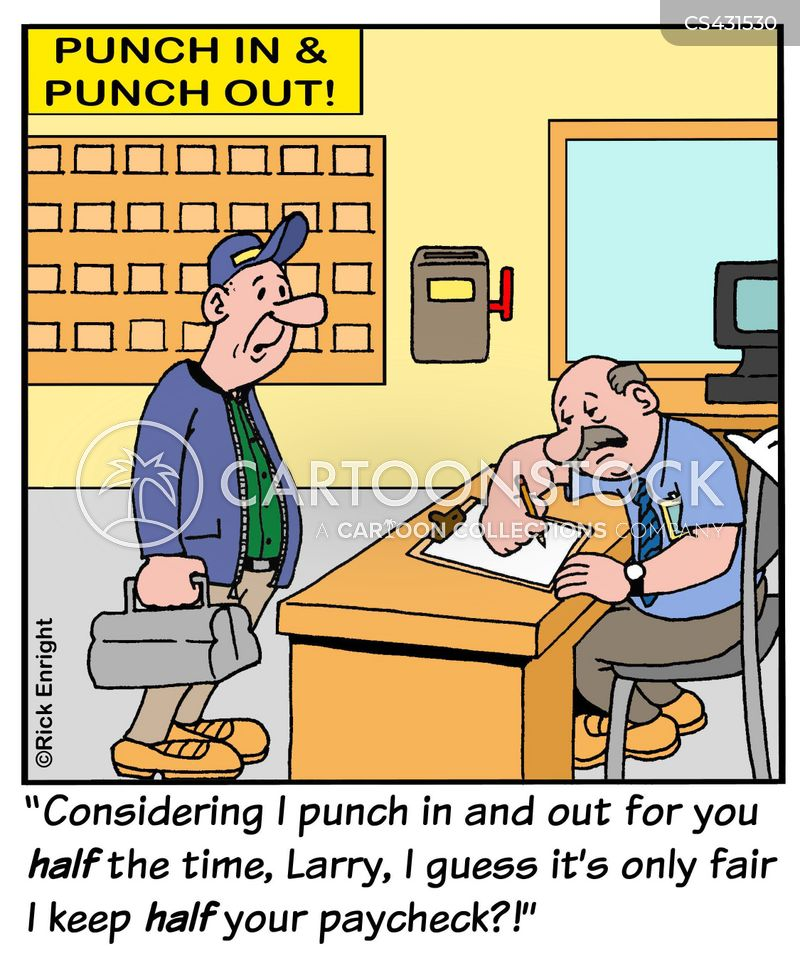 clocked out cartoon