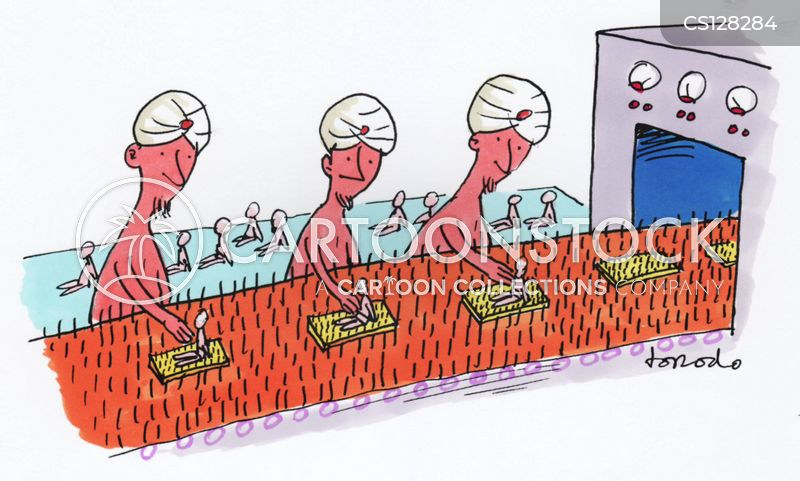 Cartoon Factory Line Factory Assembly Line For