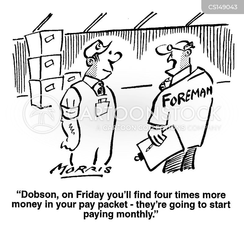 wage packets cartoon
