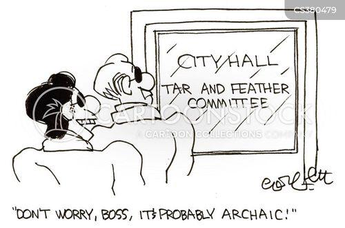 tar and feather cartoon