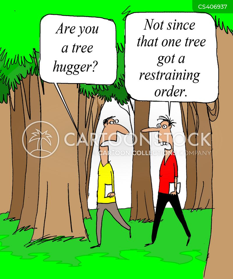 Tree hugger cartoons tree hugger cartoon funny tree hugger picture