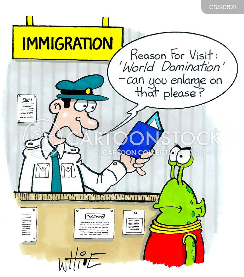 passport control cartoon