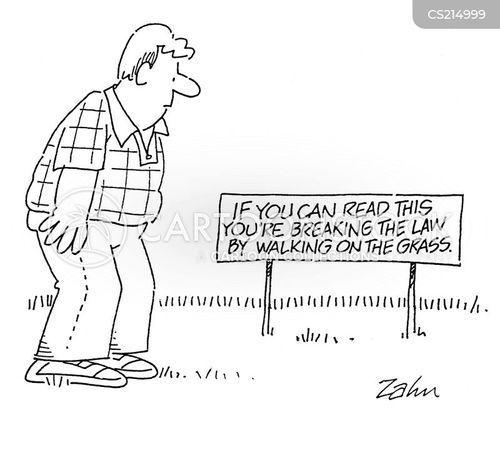 keep off the grass cartoon