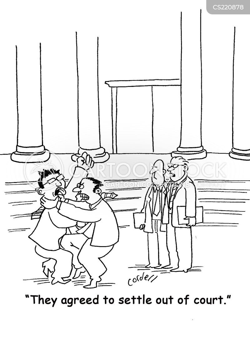settle out of court cartoon