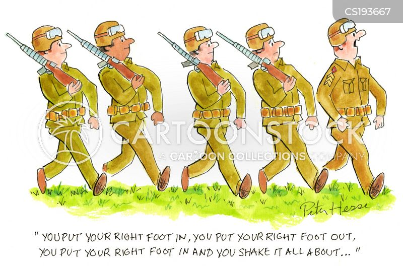 marching cartoon