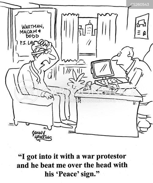 war protestors cartoon