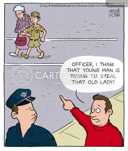 cross the street cartoon