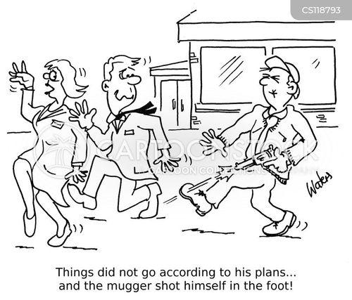 shoot yourself in the foot cartoon