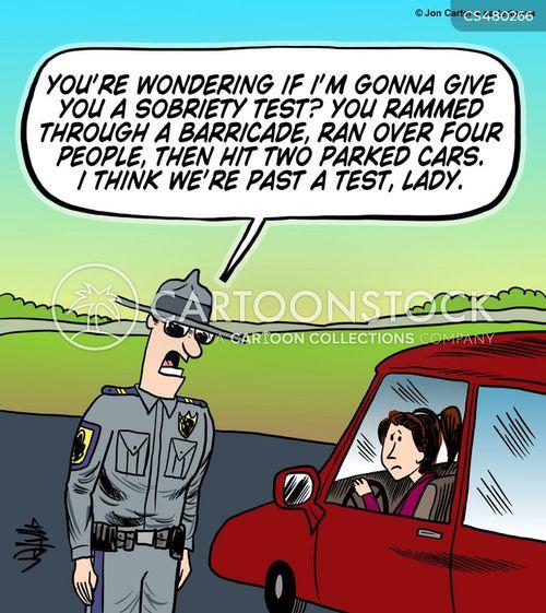 sobriety test cartoon