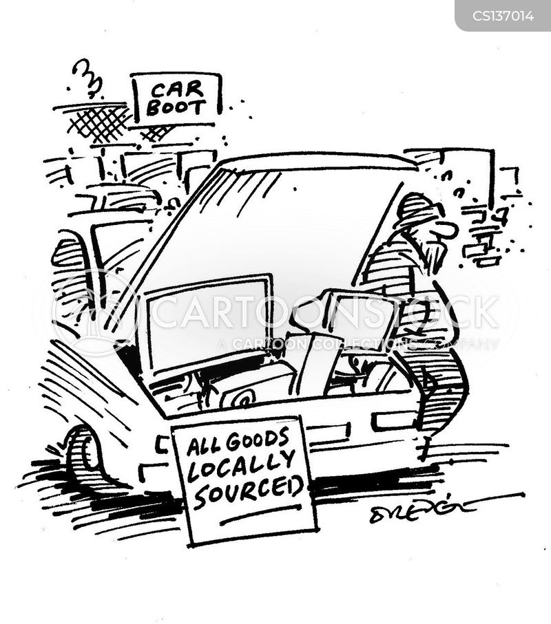 carboot sale cartoon