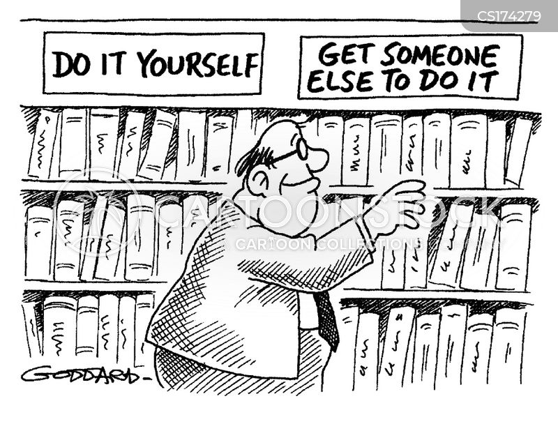 Do it yourself cartoons and comics funny pictures from cartoonstock man searching for book in sections entitled do it yourself and get someone else to do it solutioingenieria
