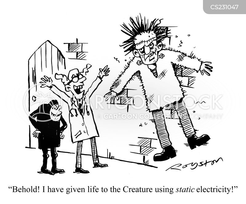 electric charges cartoon