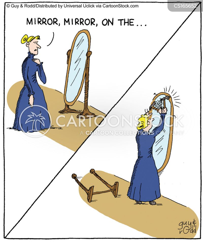 full length mirror cartoon