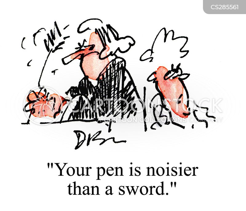 the pen is mightier than the sword cartoon