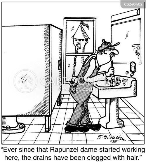 clogged drains cartoon
