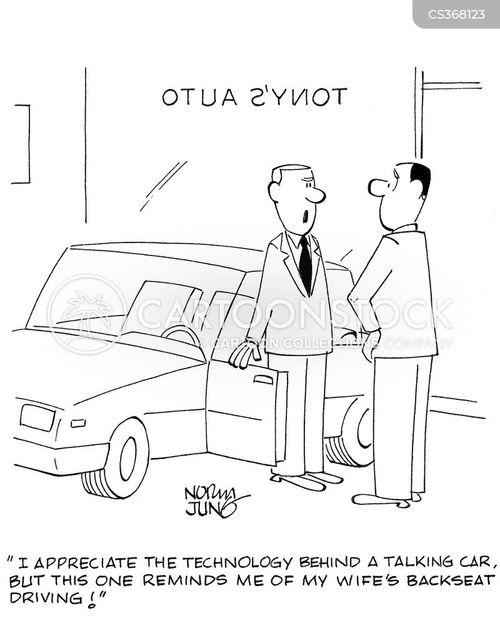 back seat driving cartoon