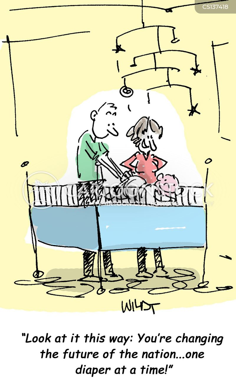 changing diapers cartoon